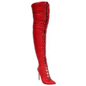 Cape Robbin Red Puffer Quilted Thigh High Boots